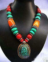 FREE SHIPPING>>Unusual Tribal Beeswax Coral Turquoise Pendant Necklace Q169