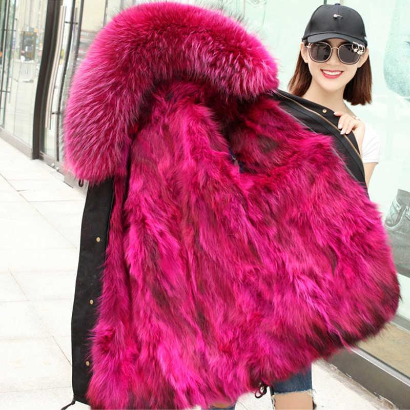 Специальное предложение! 2019 новое зимнее пальто с мехом лисы женское теплое меховое пальто толстая Куртка парка с натуральным лисьим меховым воротником с капюшоном женская верхняя одежда