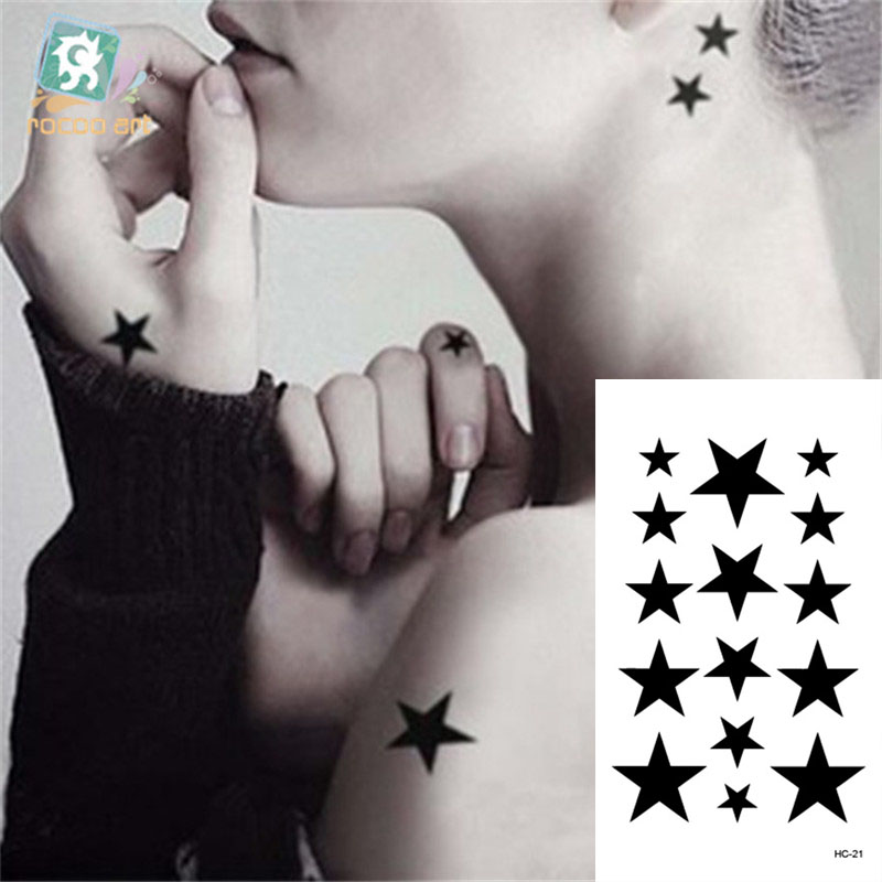 Body Art Waterproof Temporary Tattoos Paper For Men Women Beautiful 3d Black Star Design Flash Tattoo Sticker HC1021