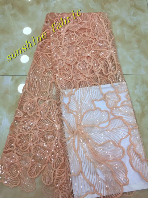 Nigerian lace fabrics Peach white sequin floral embroidery tulle mesh lace  for wedding evening dress 6363eacbdbd6