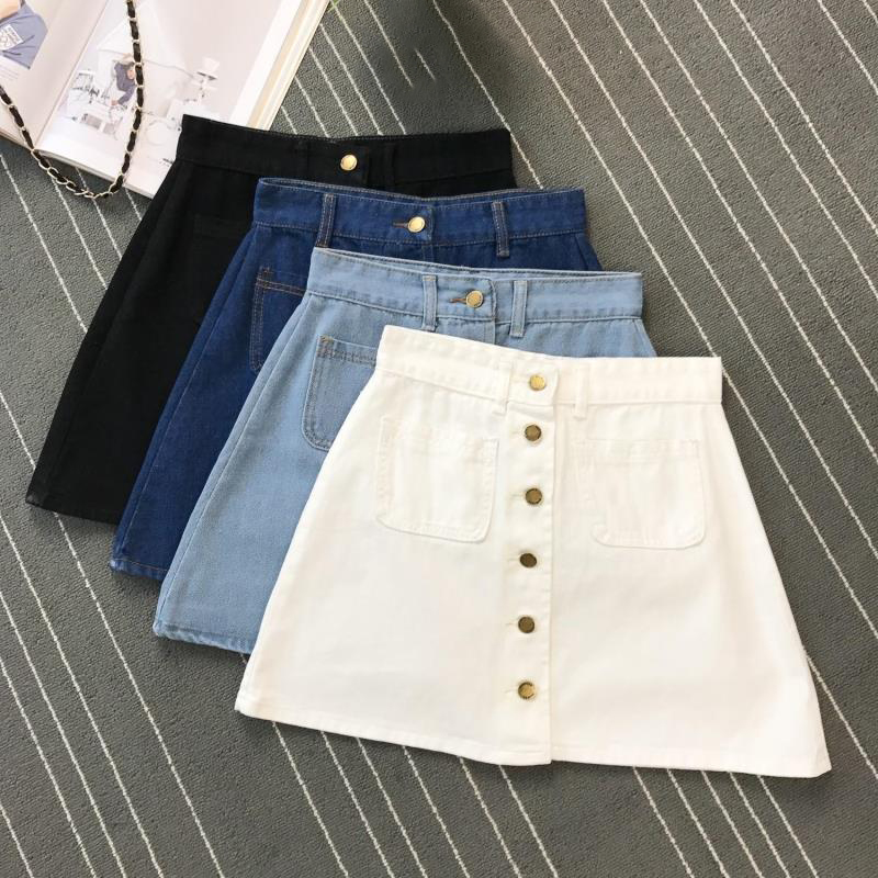 Single Button Denim Jeans Skirts Summer Korean Vintage Denim Skirts Women Pockets Short Mini Skirt Sexy High Waist Blue A-Line