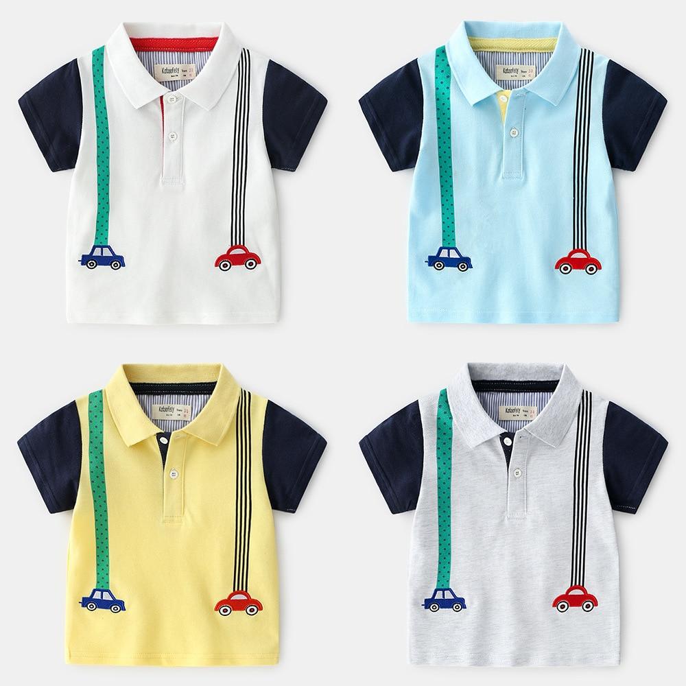 Summer Boys Polo Shirt Cartoon Car Short Sleeve Polo Shirt For Boy Lapel Solid Tops Cotton Shirt For KidsSummer Boys Polo Shirt Cartoon Car Short Sleeve Polo Shirt For Boy Lapel Solid Tops Cotton Shirt For Kids