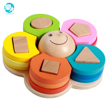 Wooden toys building blocks shape Wooden colorful flower block chirldren montessori develop baby's intelligence early Education