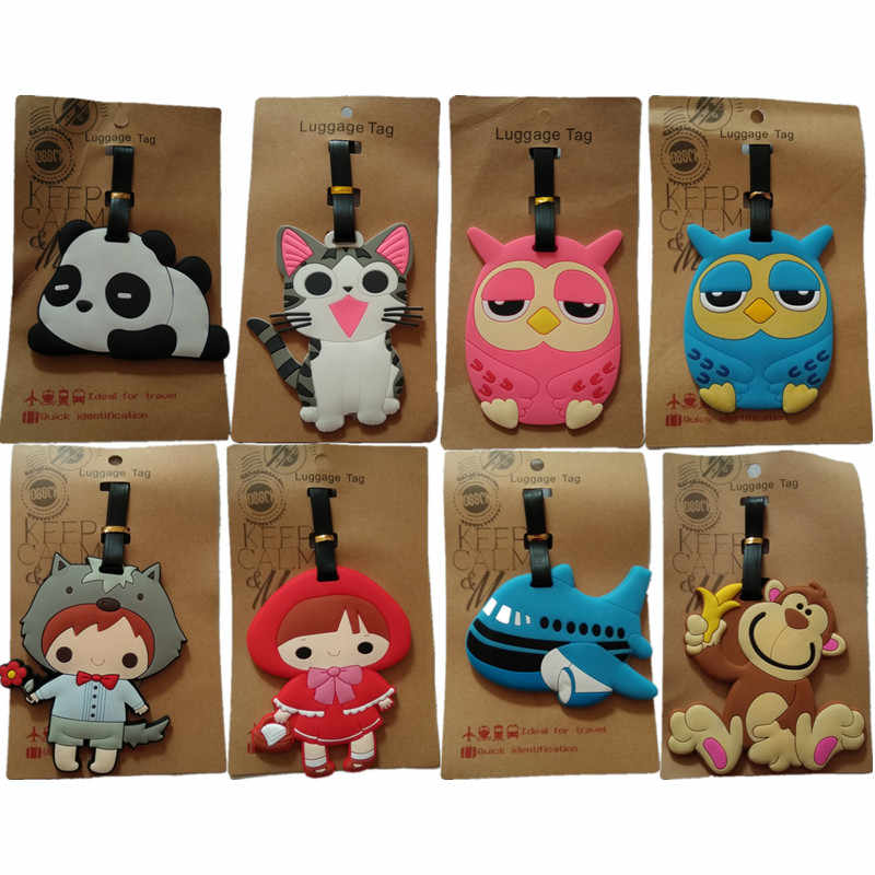 2018 Fashion Panda Monkey Suitcase Luggage Tag Cartoon PVC Address Holder Baggage Label Silicone Plane ID Travel Accessories