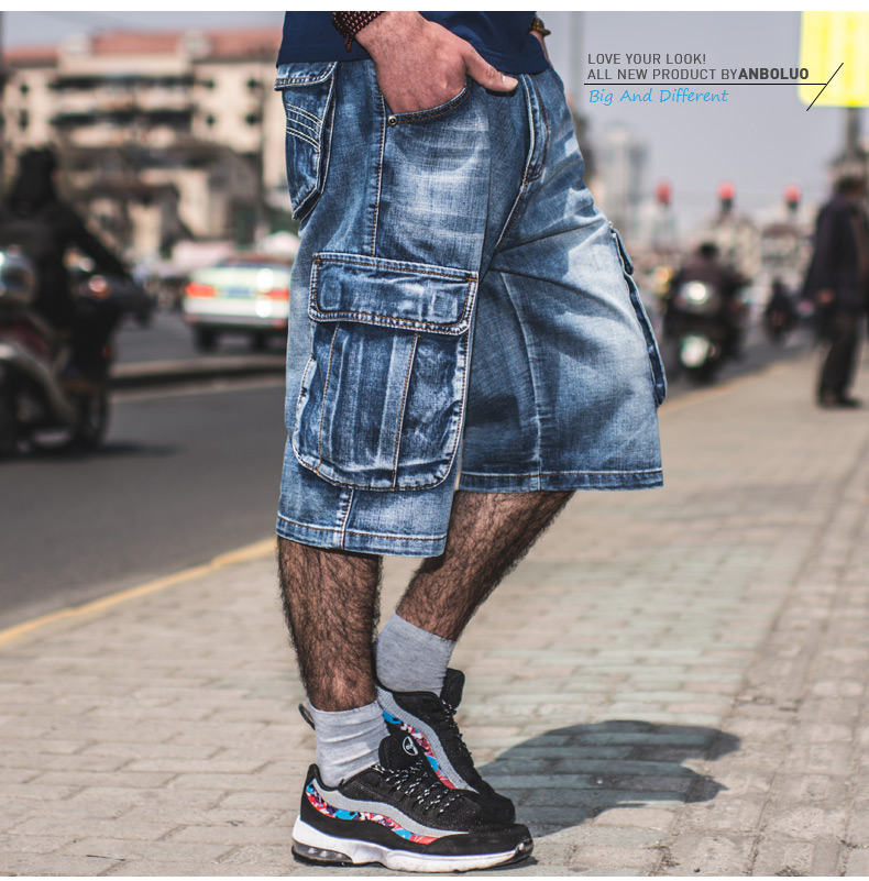 Plus Size 40 42 44 46 Men Hip Hop Cargo Shorts Denim Knee Length Loose Baggy Jeans Shorts With Multi Pockets
