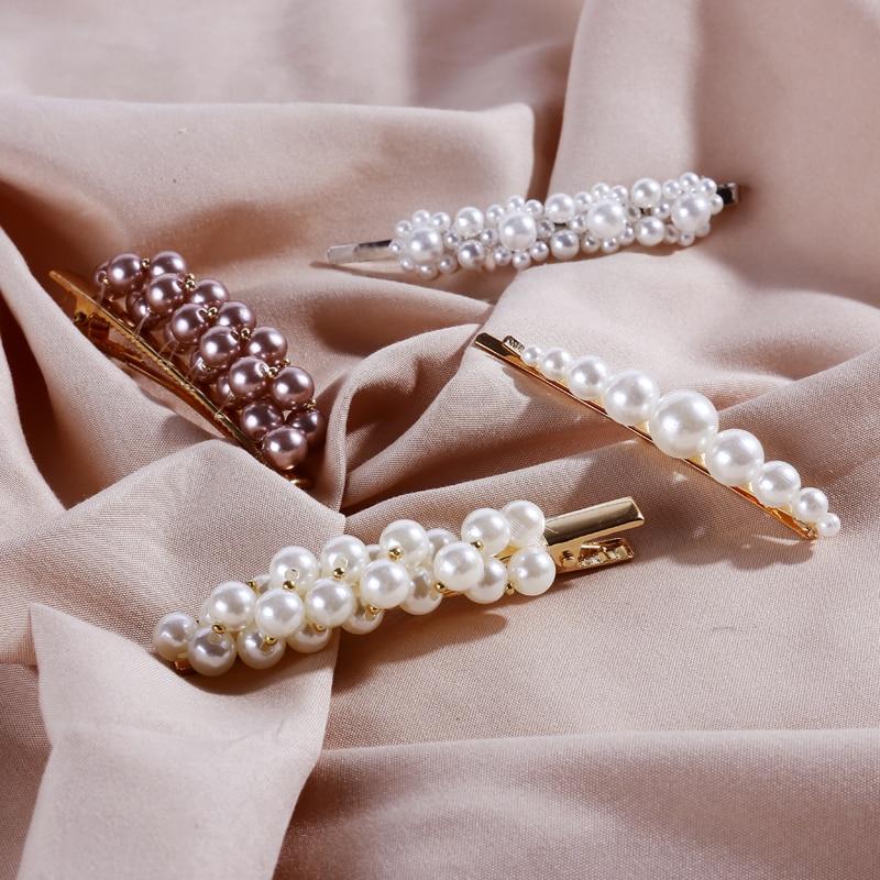 Reliable Korean Pearl Hair Clips Girls Aligator Claws Rhinestone Barrettes Gold Hairpins Diamond Bobby Pins Women Hair Accessories Tools Girl's Accessories Girl's Hair Accessories