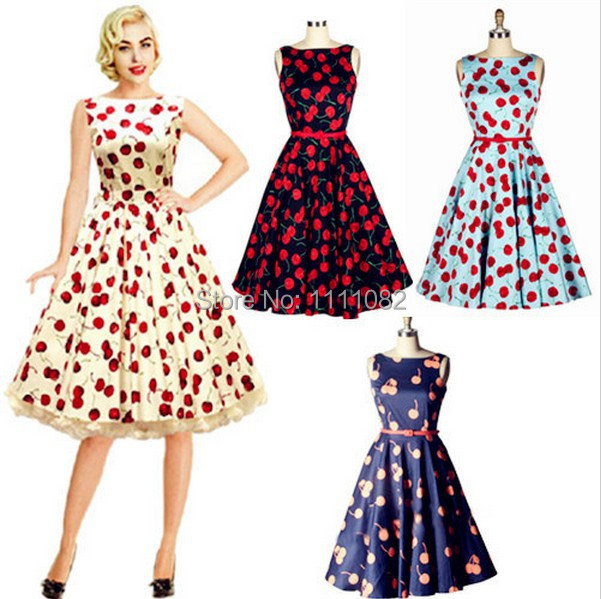 Ryanzhan 2017 New Summer Vintage Women Cherry Print 50s Retro Dress Big  Swing Pinup Rockabilly Dresses Vintage Robe Party Dress-in Dresses from  Women s ... 741d524720ac