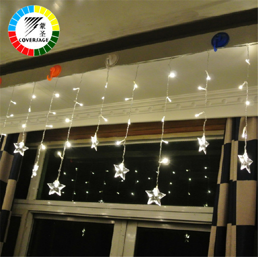 Coversage Christmas Fairy String Lights Stars Xmas Wedding Garden Party Luces Decoration Outdoor Light Curtain Led String Lights