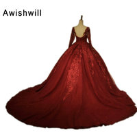 Real Picture Long Sleeves Burgundy Evening Dresses Beading Lace Tulle Ball Gown Party Dress Formal Banquet Dresses 2018