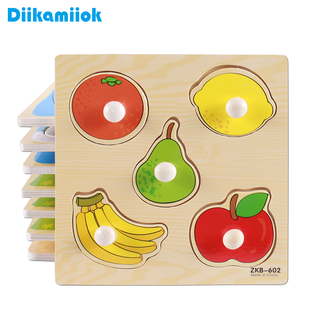 New Hand Grab Board Puzzle Wooden Toys For Child Cartoon Animal Fruit Wood Jigsaw Kids Baby Early Educational Learning Toy X-D01