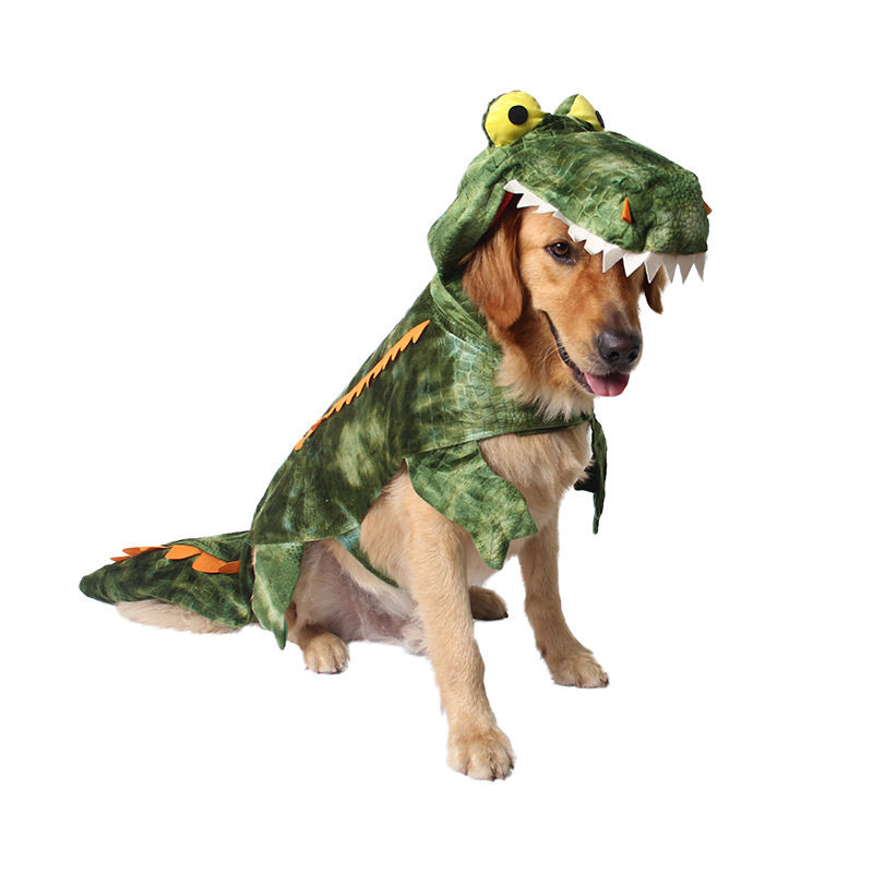 Funny Halloween Dinosaur Crocodile Large Dog Costume Outfits Winter Warm Fleece Dog Coat Jacket Golden Retriever Dog clothes