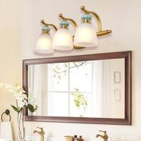 Американский кантри стиль медные Настенные лампы ванная зеркало передний свет светодио дный ванная комната светодиодные керамические нас