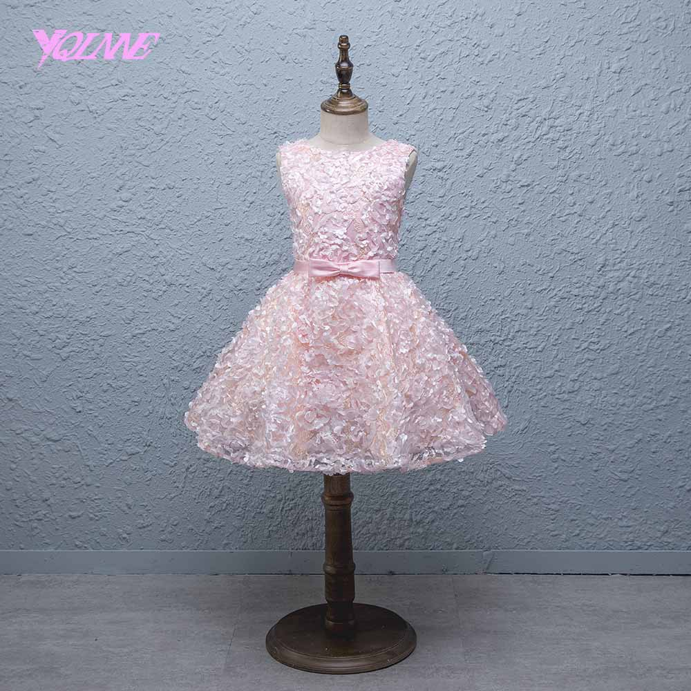 YQLNNE Pink Ball Gown   Flower     Girl     Dresses   Sleeveless Lace-up Communion Party   Dress