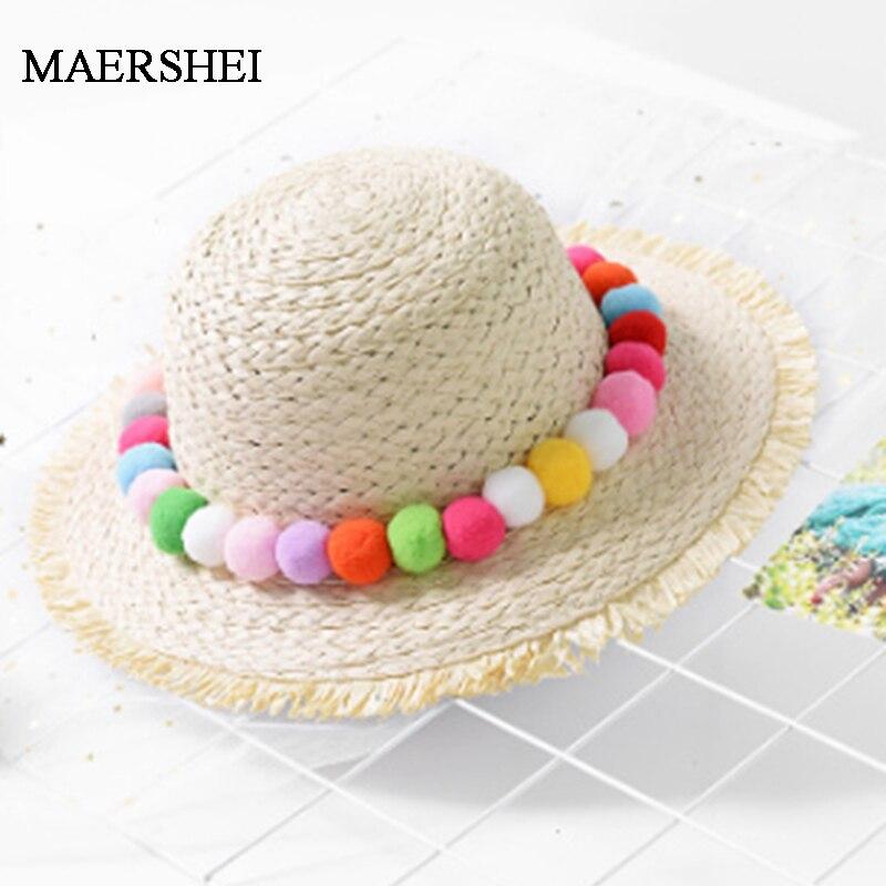 f095b73e9 Cheap MAERSHEI 2019 verano niñas sombrero de paja playa niños sombrero de  sol Casual Panamá niño