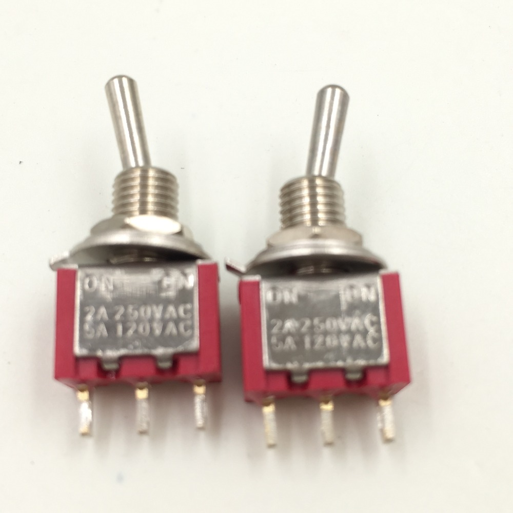 5pcs Mts 102 Spdt On On 3 Pin 2 Position Power Supply