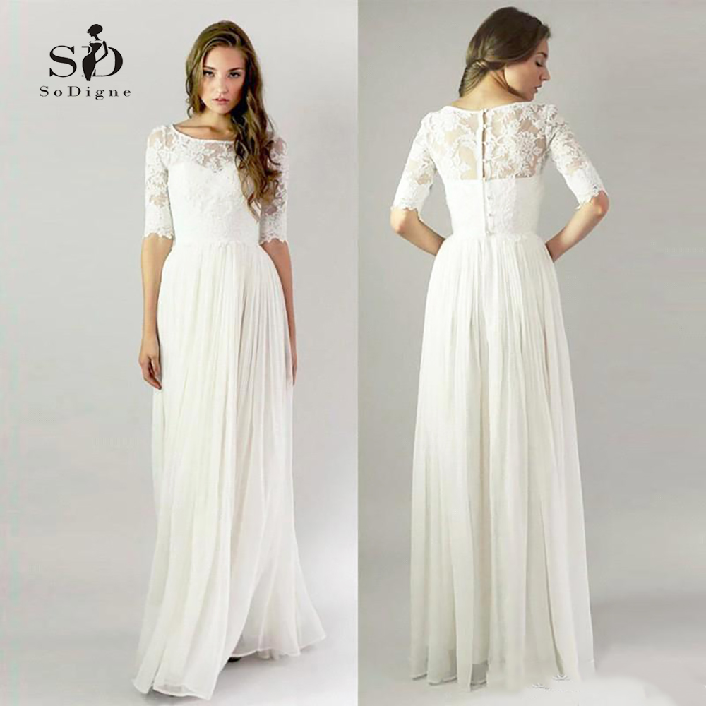Simple Lace Wedding Dress Cheap Informal Bride Dress Half Sleeves Buttons Bridal Gown Cheap Wedding Dresses With Free Shipping