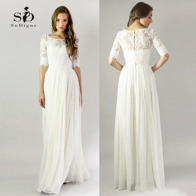 Simple Lace Wedding Dress Cheap Informal Bride Dress Half Sleeves Buttons Bridal Gown Vintage Inspired Elegant
