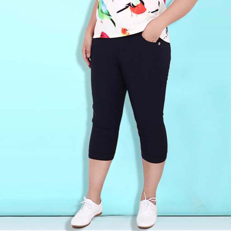2019 Plus Size Women High Stretch Waist Pants Women Pencil Pants Spring Summer black blue Pants capris Female 6XL