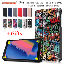 2019 Magnetic Cover For Samsung Tab SM-P200 SM-P205 Funda Capa 8inch 3-Folded Standing Case Galaxy A 8.0