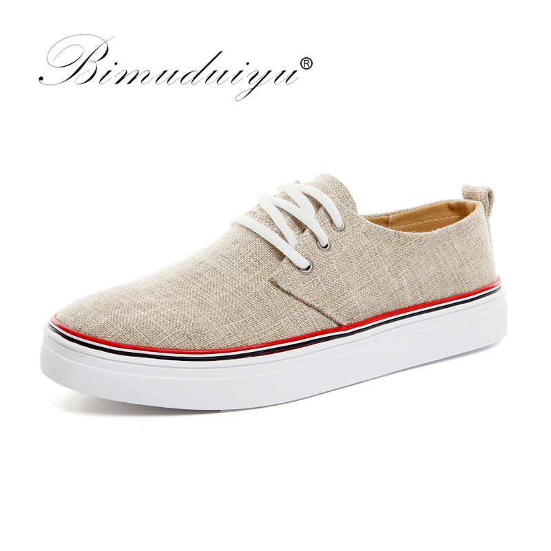 BIMUDUIYU Sapatas de Lona dos homens de Linho Flats Sapatos Casuais Primavera / Verão Moda Respirável Lace-up Estilo Coreano Tamanho Grande Sapatos