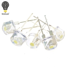 WAVGAT 1000PCS NEW F8 8mm 0.5W 3.0 3.2V Straw hat LED White Super bright LED lamp Wide Angle Transparent LED Lamp Strawhat LED