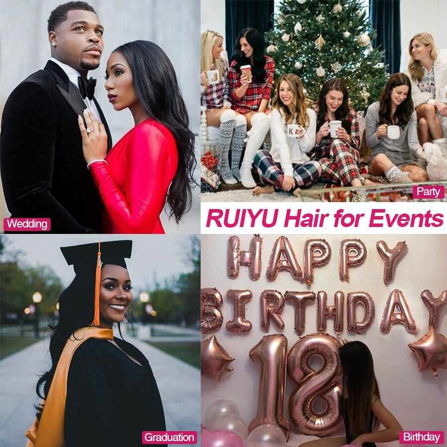 RUIYU Straight Hair Bundles Brazilian Hair Weave Bundles Mänskliga - Mänskligt hår (svart) - Foto 5