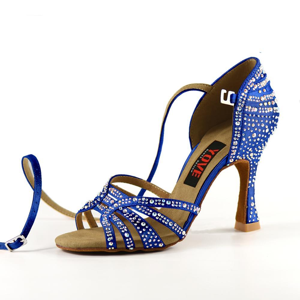 YOVE Style w1904-1 chaussures de danse Bachata/Salsa intérieur et extérieur chaussures de danse pour femmes avec strass - 6