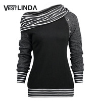 VESTLINDA T Shirt Women Stripe Trim Skew Neck Raglan Long Sleeve T Shirts Winter Spring Womens