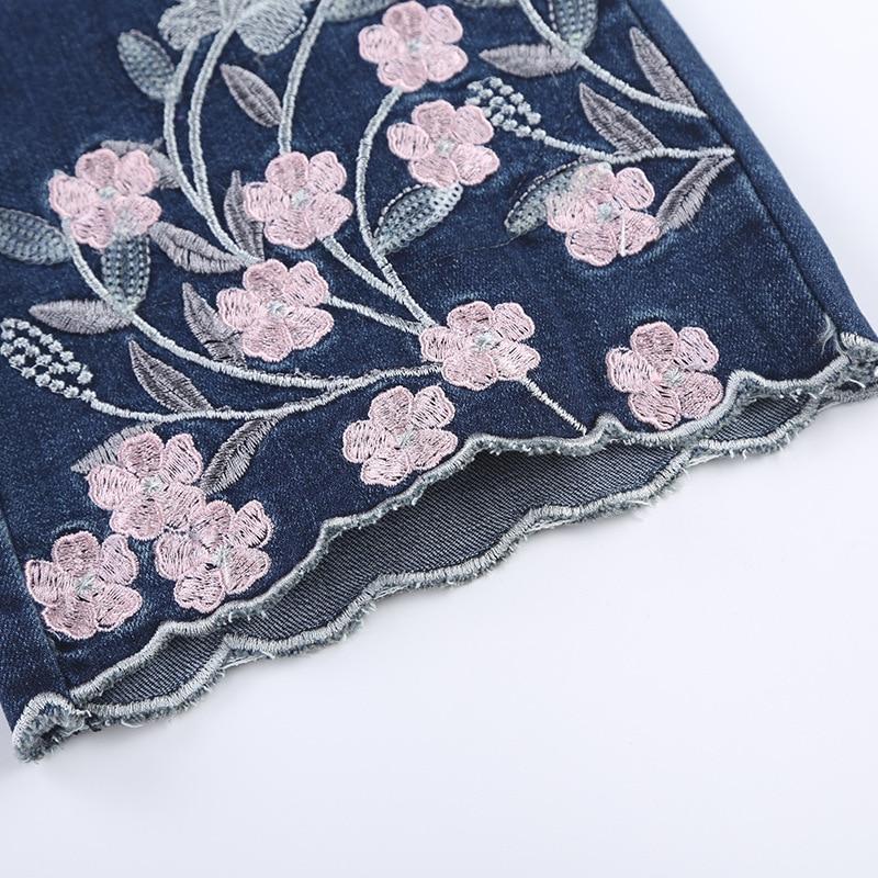 Femmes Évasée Sexy Cloche Dames Pour Bleu Ferzige Femme Automne 36 Angleterre Denim Pantalon Jeans Fond Brodé 2018 Style tqxZ8fa
