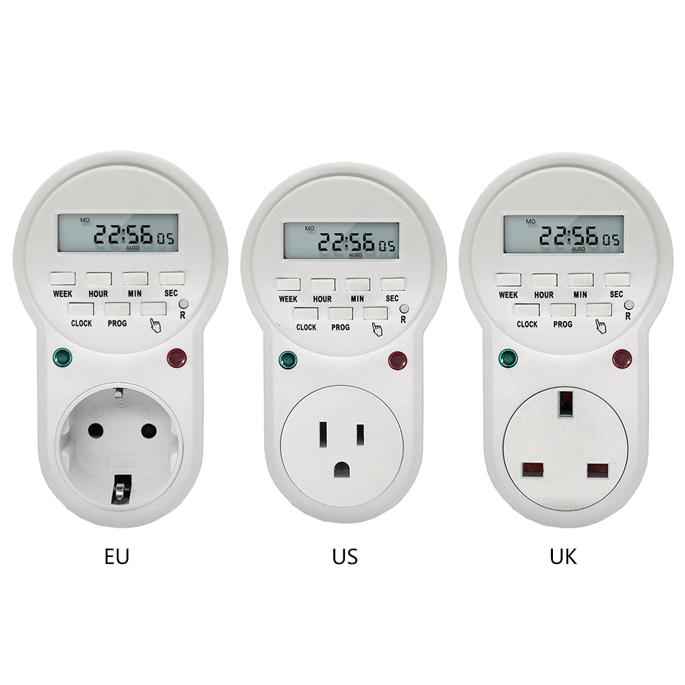 New 220v-230V Timer in Switch Socket Digital LCD Power Timer Energy-saving Programmable Time Switch EU /US /UK Plug temporizador цена