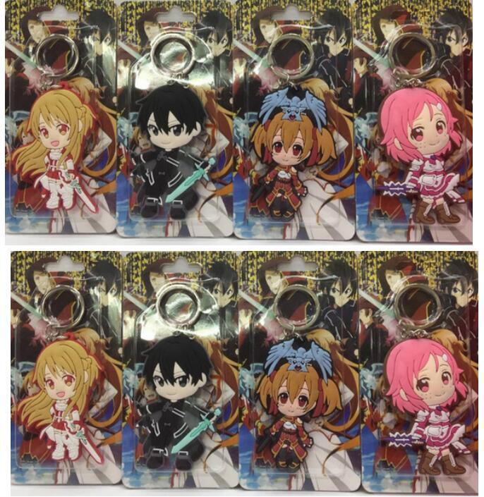 Mix 50 pcs Cartoon Japanese anime Fate Double sided PVC keychains Anime Keychain Gift B03