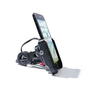 Image 2 - Waterproof Motorbike 360 Degree Motorcycle Handlebar Mirror Cell Phone Mount Holder with QC 3.0 USB Charger for iPhone Samsung