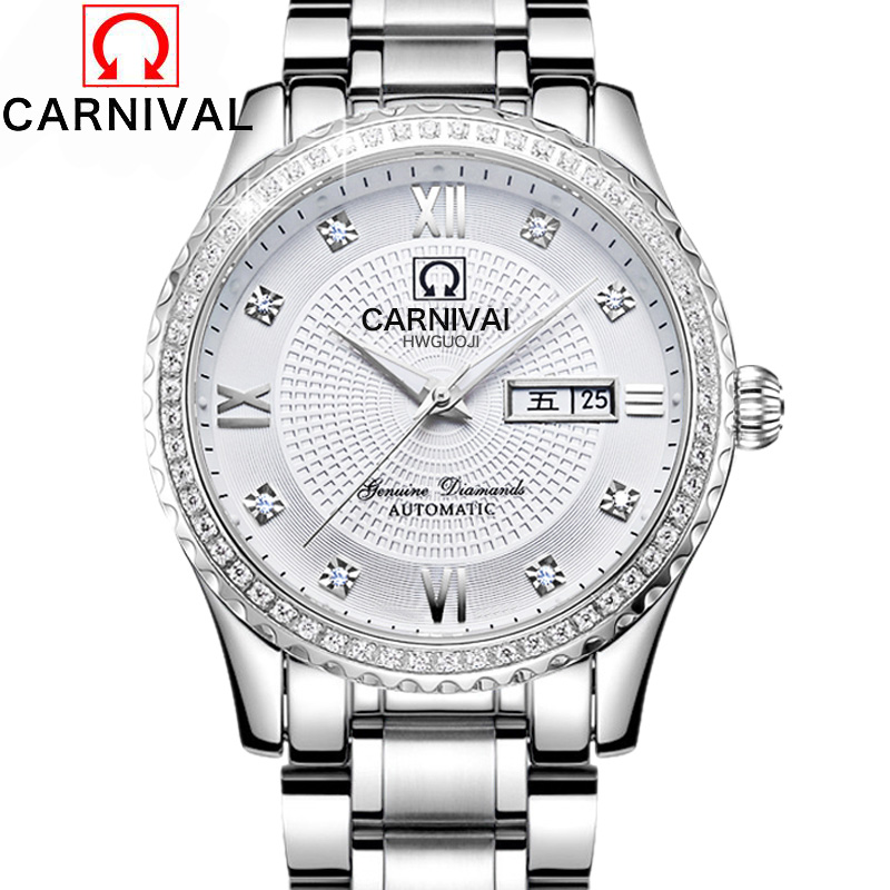 2016Carnival automatic mechanical watch diamond full steel sapphire waterproof luminous male luxury famous brand watches relogio