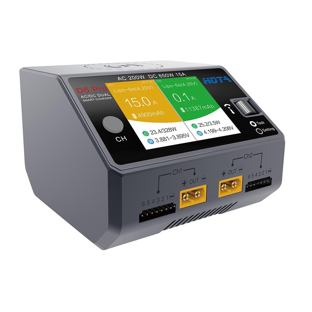 HOTA D6 Pro Chargeur Intelligent AC200W DC650W 15A pour Lipo Li-ion NiMH Batterie RC Voiture Drone iPhone Samsung Sans Fil De Charge