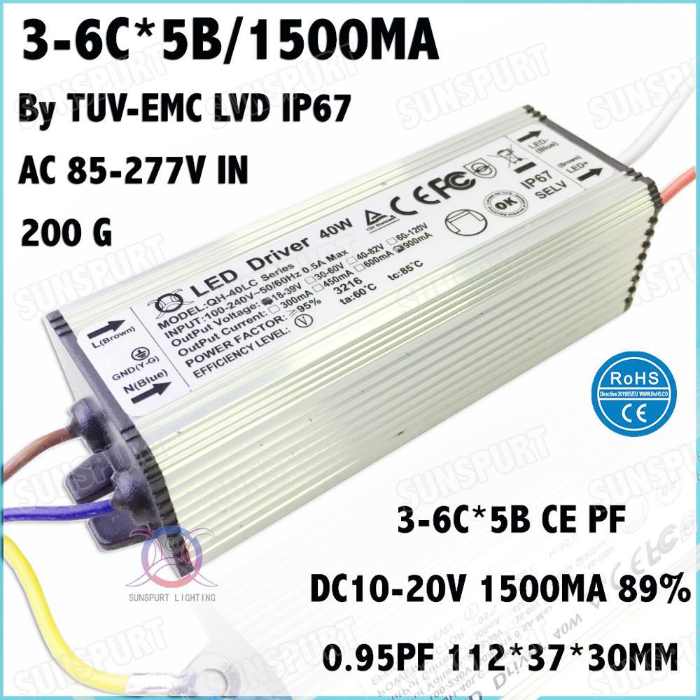 3 шт. tuv-ce pfc IP67 40 Вт AC85-277V Светодиодный драйвер 3-6cx5b 1500MA dc11-20v постоянный ток светодиодный Мощность для потолочный светильник Бесплатная доста...