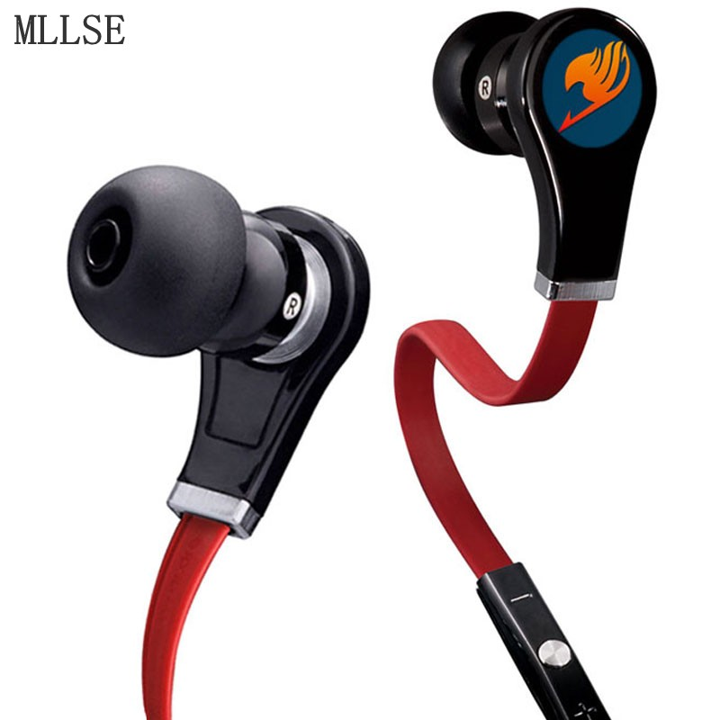 MLLSE Anime Fairy Tail Cartoon In-ear Earphone Portable AUX Wired Stereo Earbuds Sport Mic Headset for Iphone Samsung Xiaomi MP3 anime sword art online kirito in ear earphones 3 5mm wired stereo earbuds gaming headset for iphone for samsung xiaomi mp3 ps4