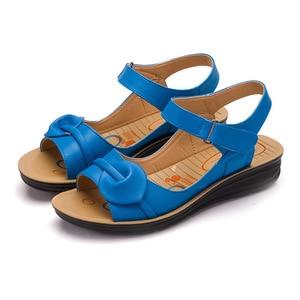 Image 5 - Mothers Platform Sandals Summer Flat Shoes Woman Round Toe Fashion Wedges Female Mum Flat Sandal Ladies Casual Footwear