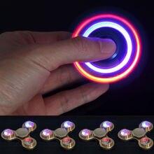 ไฟแฟลชLedโลหะผสมเงินTri-s Pinnerมือปั่นอยู่ไม่สุขโต๊ะโฟกัสของเล่นhandspinner stressrelief focustoy fidgetstoy
