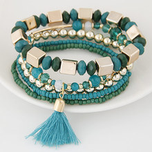 5pcs/set Bohemian Beach style Candy Color Multilayer Beads Tassel Charm Bracelets Bangles For Women Gift Pulseras Mujer