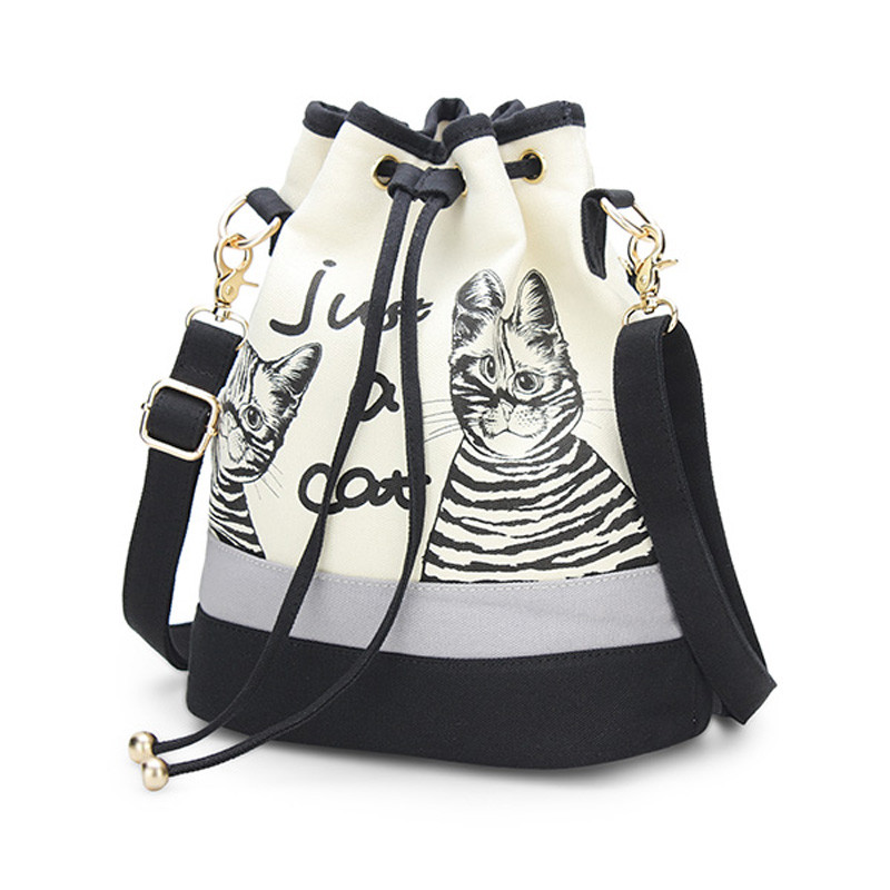 2016 New Fashion Retro Women Canvas Bucket Bags Cute Cat Print ...