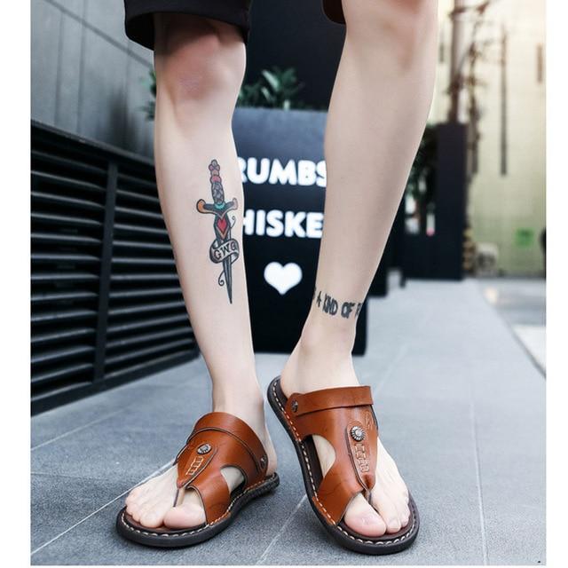 REETENE Hot Sale Men'S Sandals Genuine Leather Men Summer Shoes Leisure Slippers Flip-Flops Men Comfortable Footwear Soft Sandal 3