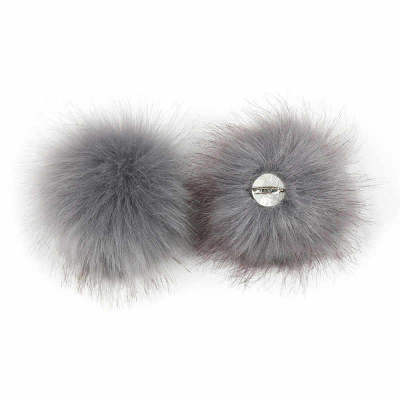 Chapéu de pele de raposa macio removível bola com pino de pele falsa pompon com pino para diy chapéu sacos cachecóis acessórios