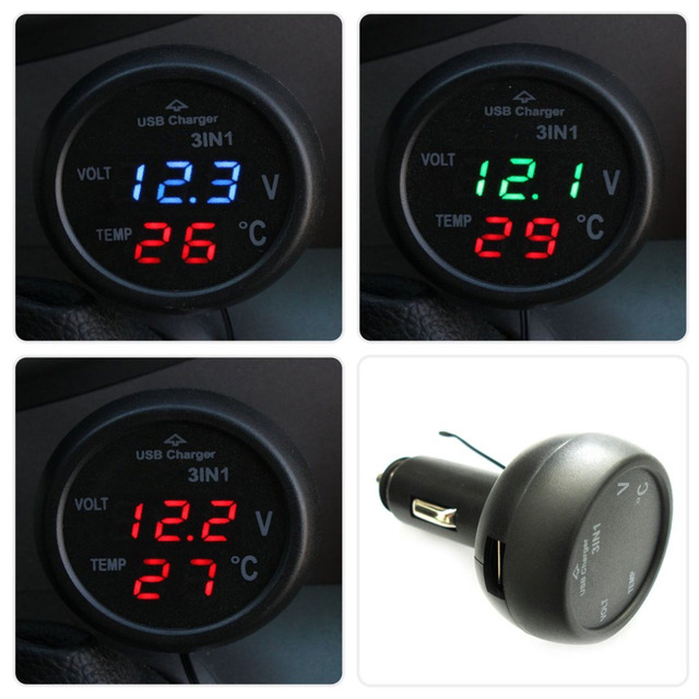 3 in 1 Digital LED car Voltmeter Thermometer Auto Car USB Charger 12V/24V Temperature Meter Voltmeter Cigarette Lighter