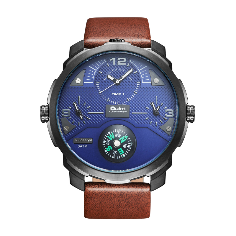 2018 Oulm HP3749 Luxury Mens Watch Factory Sport Wristwatch Special Dial with Compass Fashion Watches 2017 luxury men s oulm watch sport relojes japan double movement square dial compass function military cool stylish wristwatches