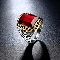 K الأدوات في اللون كبير الأحمر حجر مربع التيتانيوم عصابة ل رجل 316l الفولاذ الصلب فريد الأزياء male's الصليب الدائري ل صبي