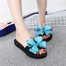 2018 Fashion Women's Shoes Female Bow Word Slipper Slope Ladies Flip Flops All-match Beach Sandals Big Bowknot Causal Flats