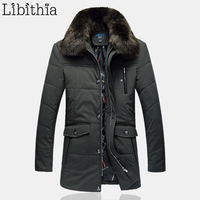 Men Loose Casual Cotton Down Parka Jacket With Fur Collar Men's Long Style Coat Winter Big Size 5XL Clothes Green Navy Blue K179
