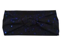 J17371 Новейший набор хороший стрейч хлопок мерцание узел группы мода синяя точка каракули металлик спандекс головные уборы повязка для женщин
