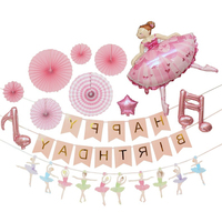 Girls birthday balloon combo banner paper flower children baby party birthday party decorate the background