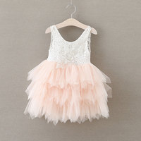 Retro Lace Girl Dress Pearl Flower Bow Baby Girls Dresses 3 Layered Mesh Flutty Kids Children